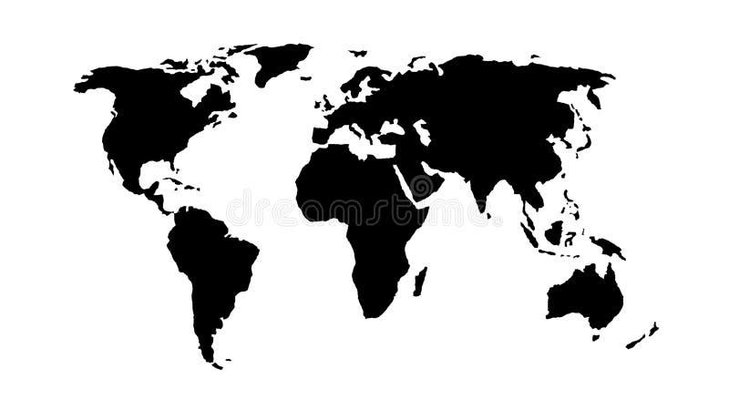 czarny mapa świata ilustracji