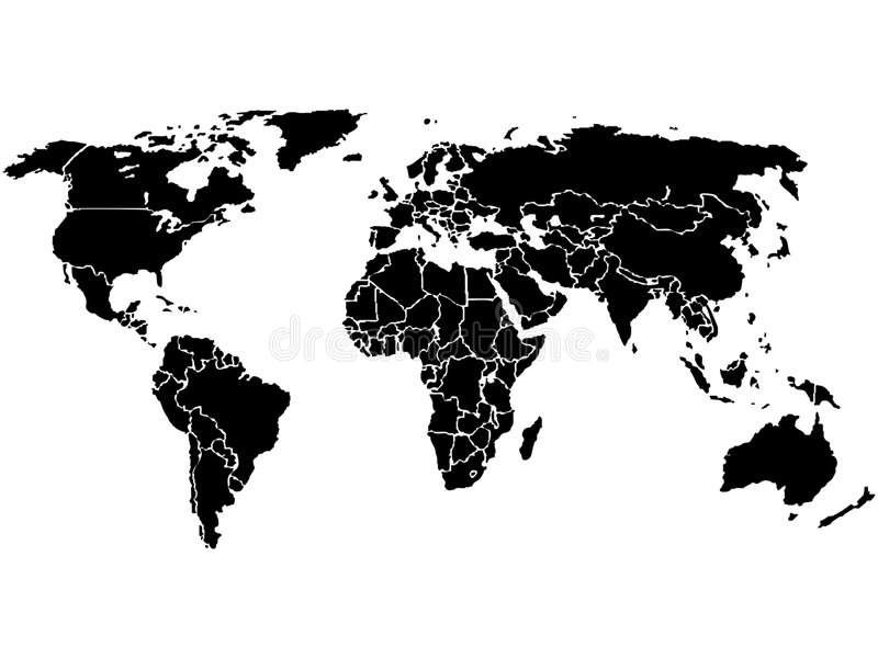 czarny mapa świata