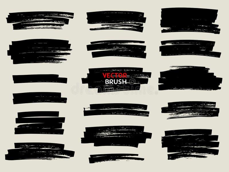 Czarny markiera muśnięcia uderzenia set ilustracji