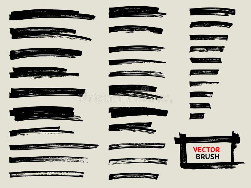Czarny markiera muśnięcia uderzenia set royalty ilustracja