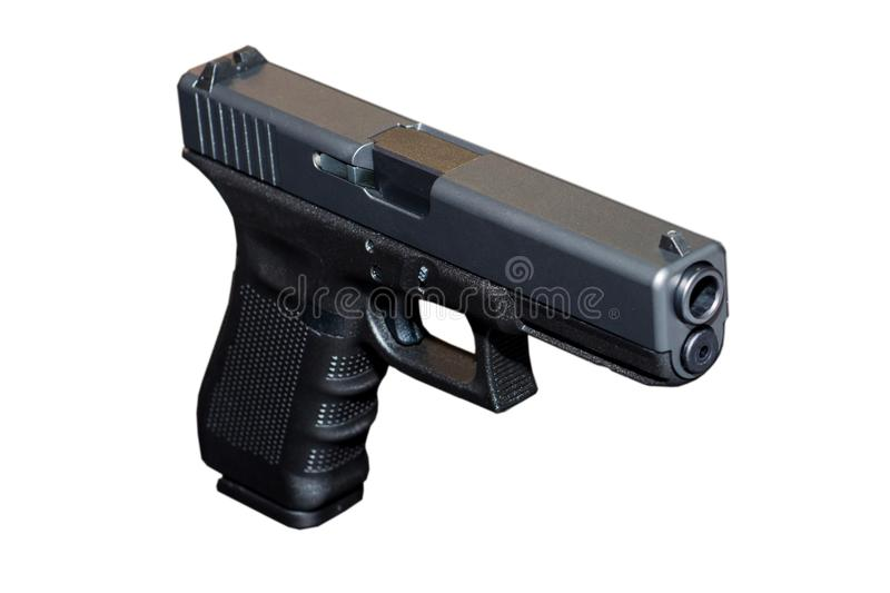 Czarny metalu 9mm krócicy pistolet zdjęcie stock