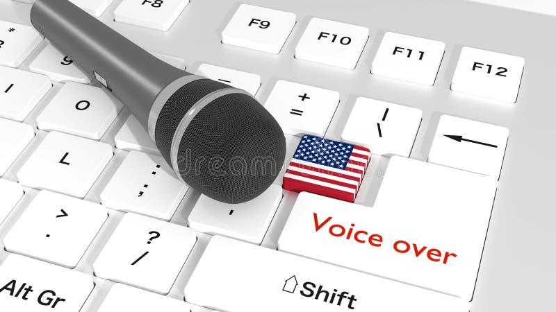 Czarny mikrofon na białej klawiaturze z flaga amerykańską ilustracja wektor