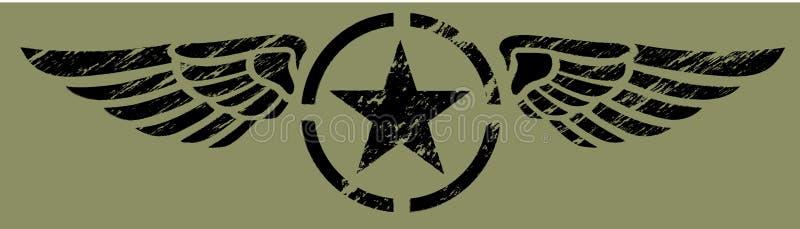 czarny militarni skrzydła royalty ilustracja