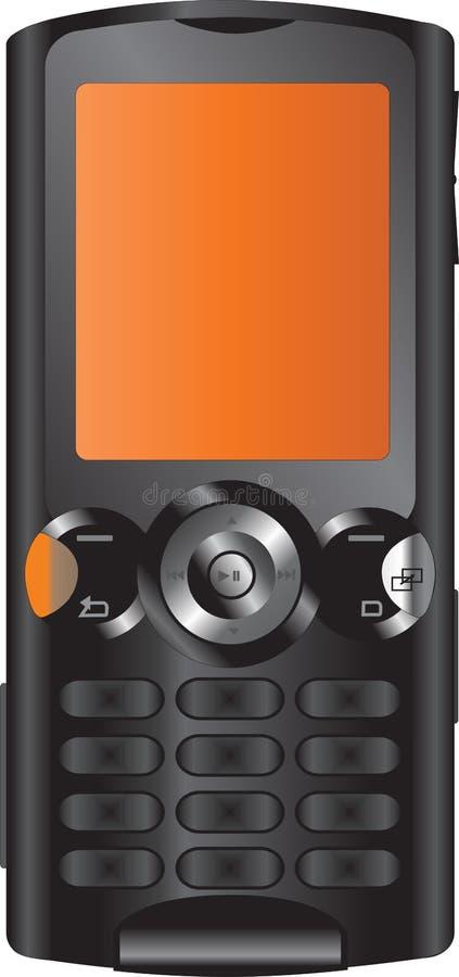 czarny mobilny pomarańczowy telefon ilustracja wektor