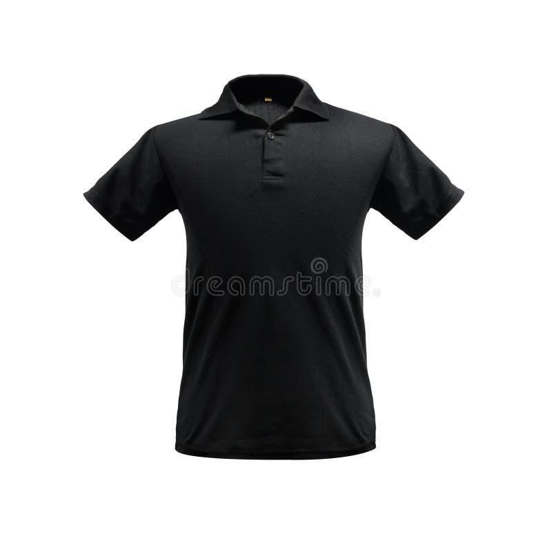 Czarny moda polo koszula szablon na odosobnionym tle z ścinek ścieżką fotografia stock