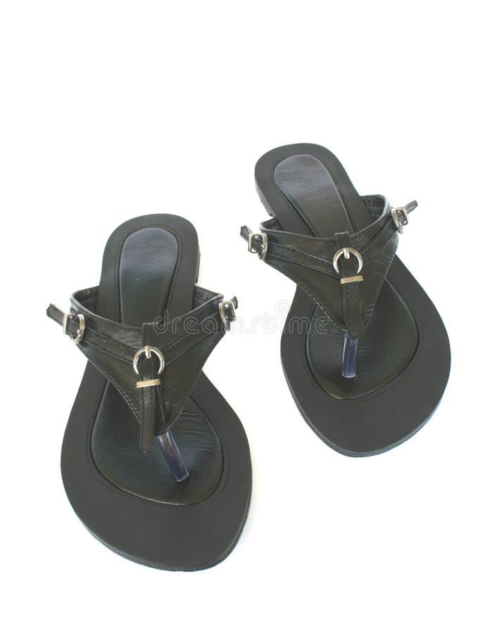 czarny mody mieszkania buty obraz royalty free