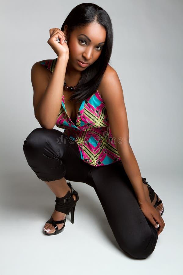 czarny mody modela kobieta zdjęcia stock