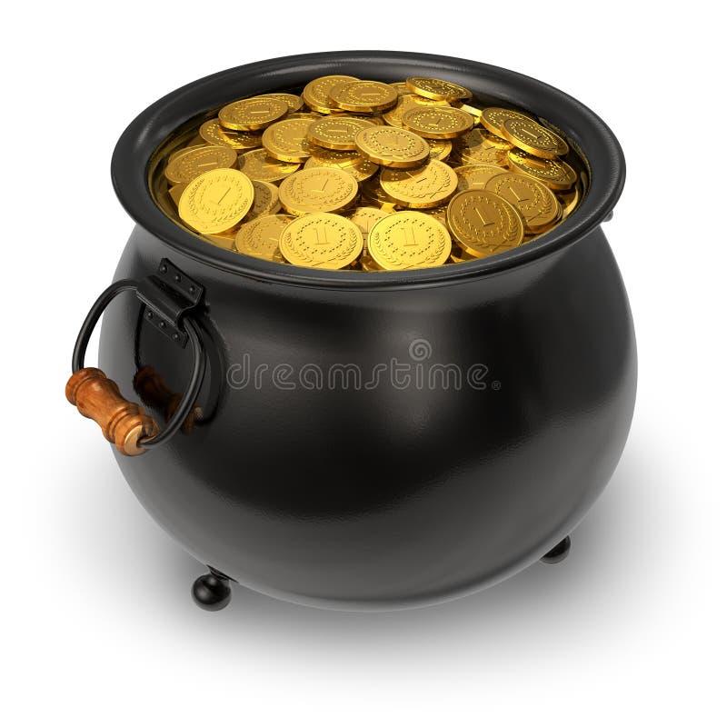 czarny monety folowali złocistego garnek royalty ilustracja