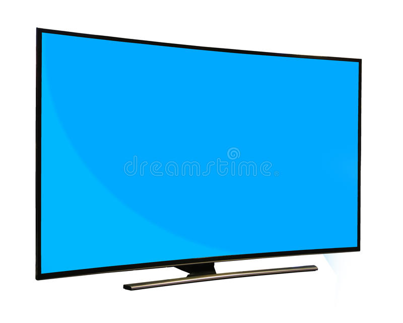 Czarny monitor z pustym błękitnym ekranem odizolowywającym na białym backgroun zdjęcie royalty free