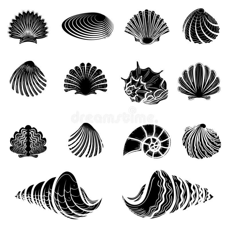 Czarny morze łuska sylwetki inkasowe royalty ilustracja