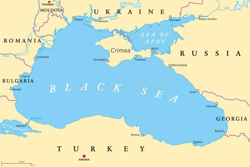 Czarny morze i morze Azov regionu polityczna mapa ilustracji