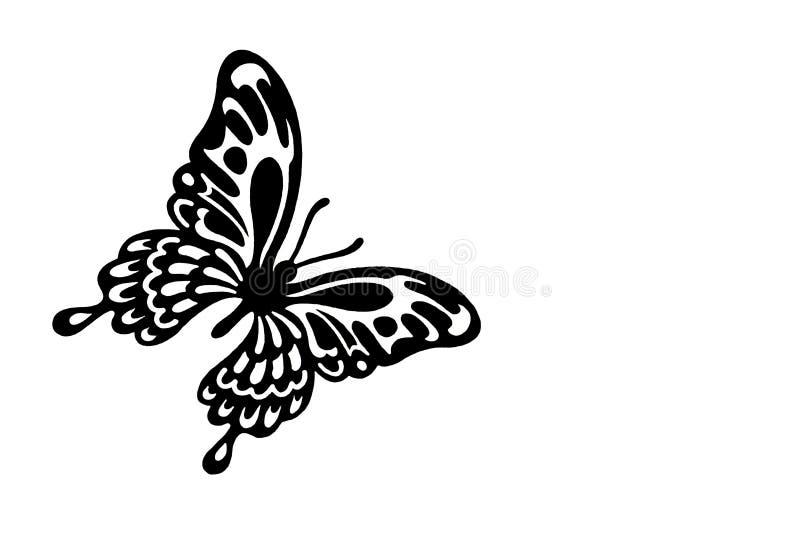 Czarny motyla cięcie z papieru na białym tle zdjęcie royalty free