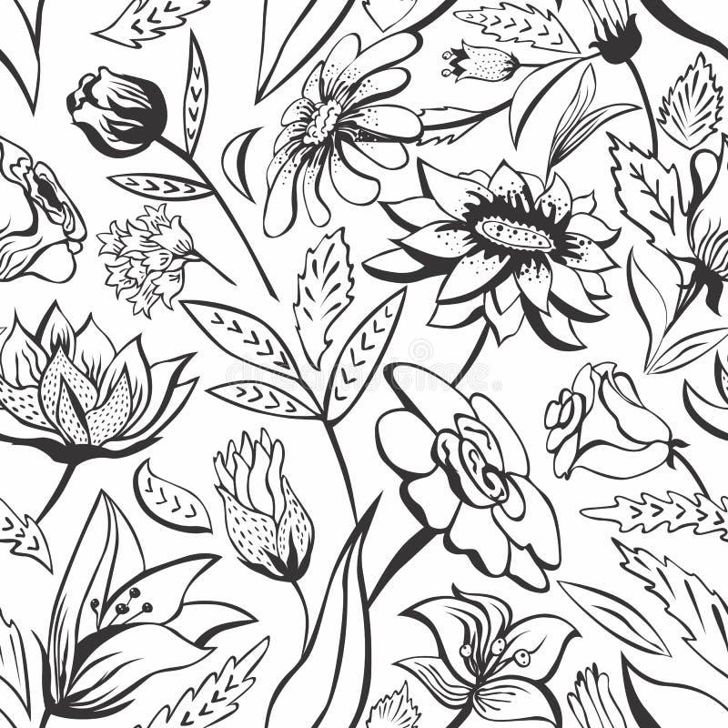 czarny motyli kwiecisty kwiatów wzoru biel ilustracja wektor