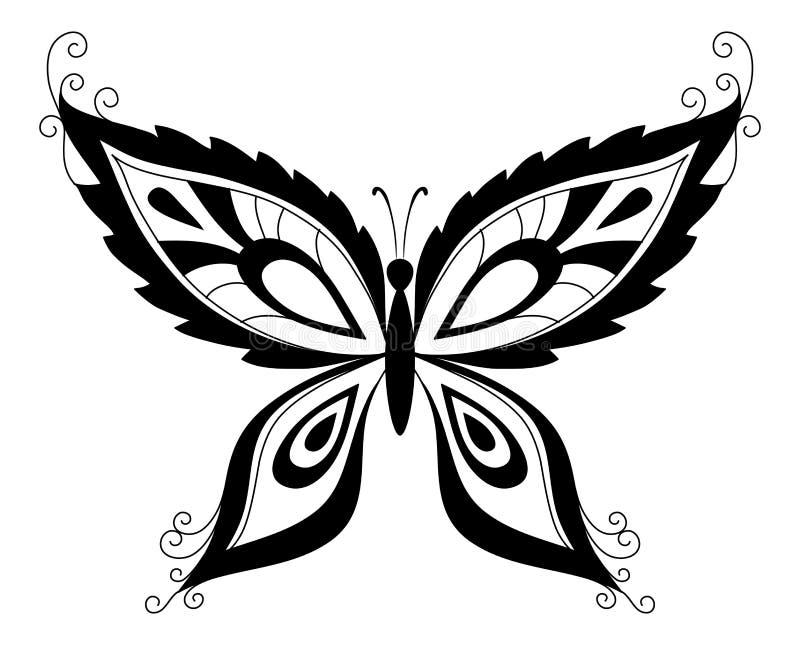 czarny motylie sylwetki royalty ilustracja
