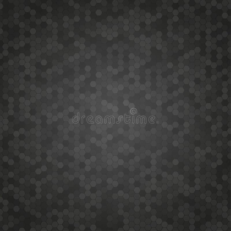 Czarny mozaiki płytki Honeycomb wektoru tło royalty ilustracja