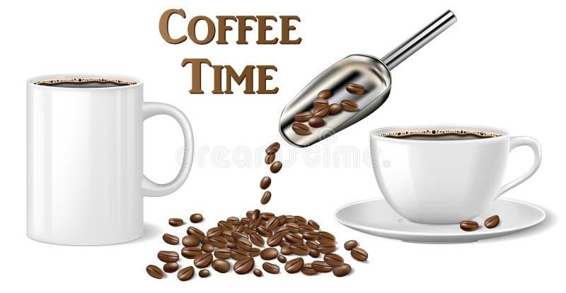 Czarny natychmiastowy filiżanki mockup szablon odizolowywający na bielu 3d ilustracja gorący kawowy kubek i fasole wektor royalty ilustracja