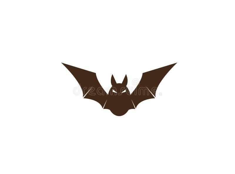 Czarny nietoperz z gniewną twarzą i otwiera skrzydeł i Fledermaus und Flà ¼ gel logo ilustracja wektor