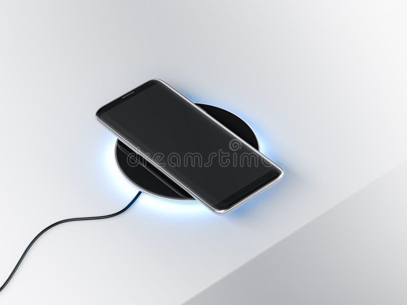 Czarny Nowożytny Smartphone mockup na bezprzewodowym ładuje przyrządzie obraz royalty free
