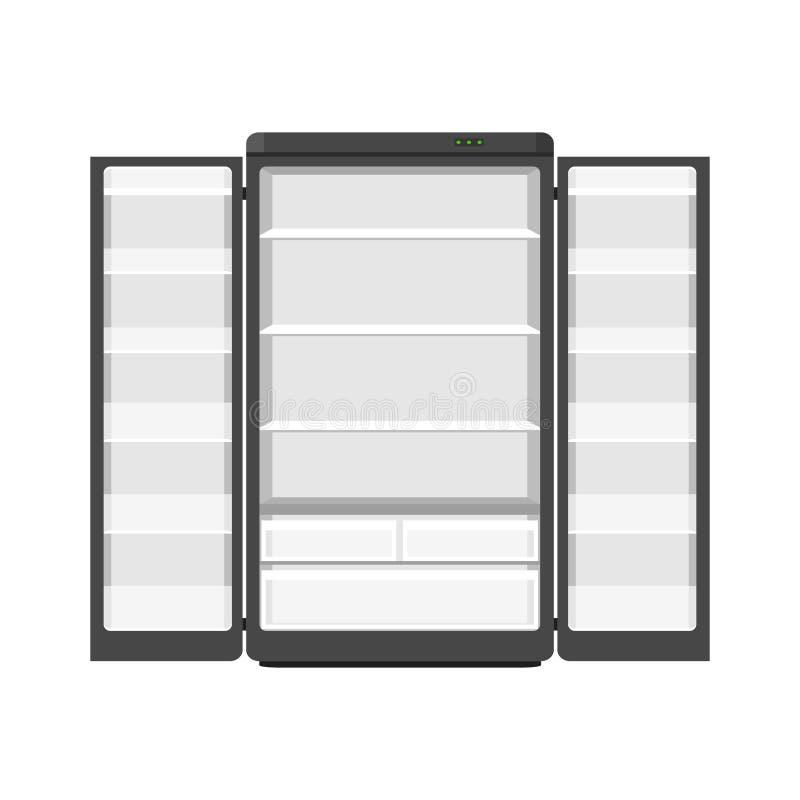Czarny nowożytny gospodarstw domowych urządzeń fridge z dwa drzwiami odizolowywającymi na białym tle Urządzenie elektroniczne chł royalty ilustracja