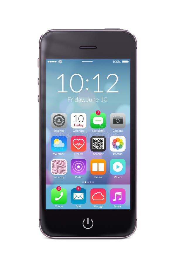 Czarny nowożytny smartphone z podaniowymi ikonami na ekranie royalty ilustracja