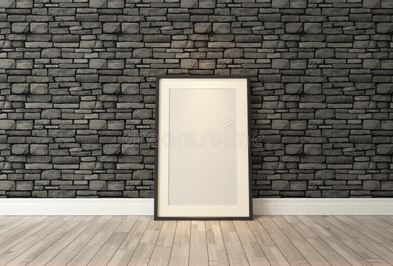 Czarny obrazek ram wystrój z czarnym naturalnym ściana z cegieł, backgr ilustracji