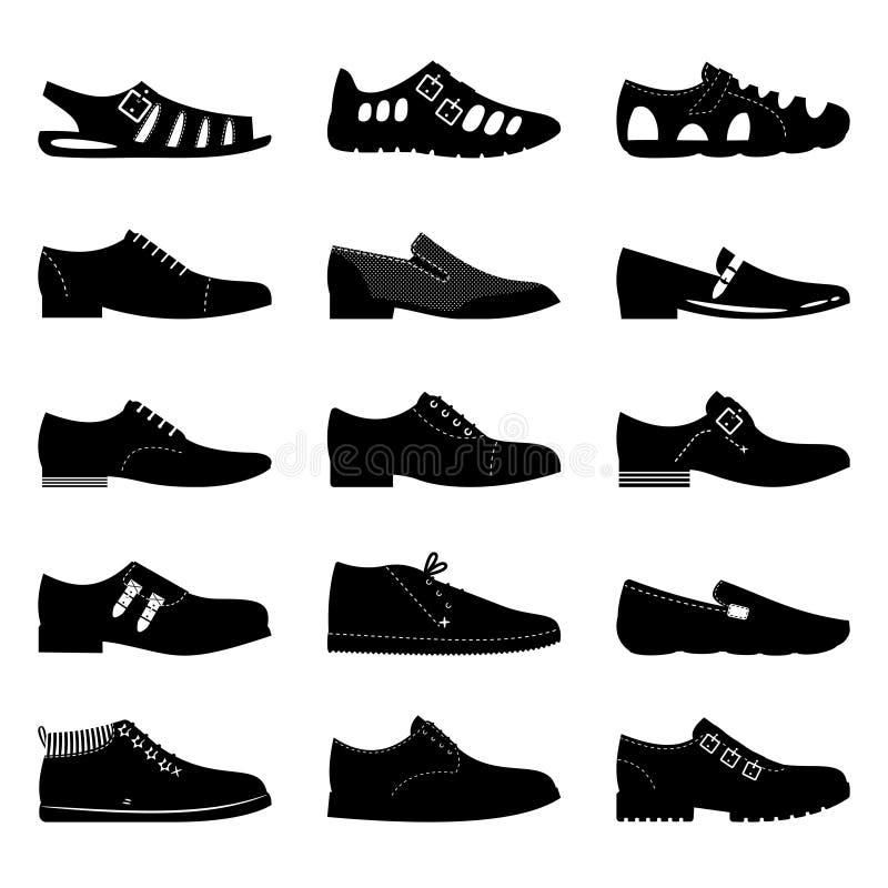 Czarny obuwie ikony set Buty, sniekers znaki, kują ikon sylwetki odizolowywać na białym tle ilustracja wektor