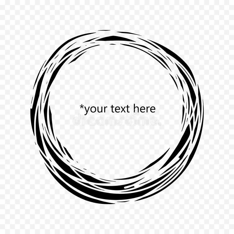 Czarny okręgu inside z czego ty możesz pisać twój tekscie Minimalistic pojęcie czarny i biały nieciągłe linie use ilustracja wektor