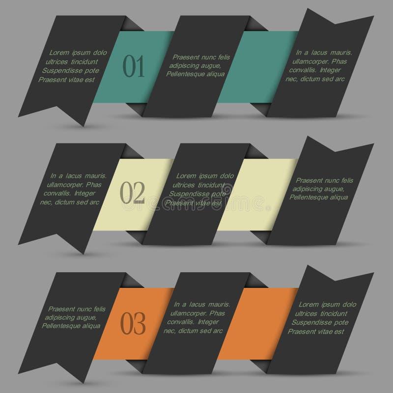 Czarny origami papier liczący sztandar ilustracja wektor