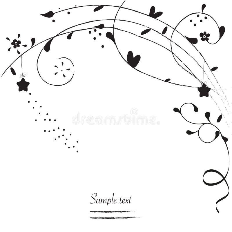 Czarny ornamentacyjny prosty kwiatu kartka z pozdrowieniami wektor ilustracja wektor