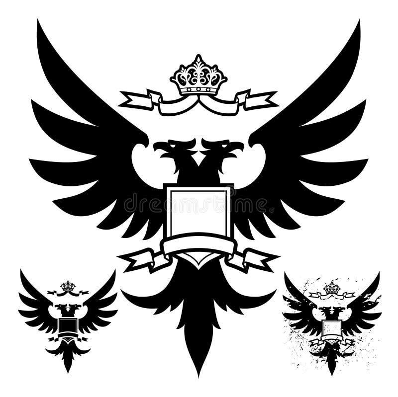 czarny orzeł głowę dwa royalty ilustracja