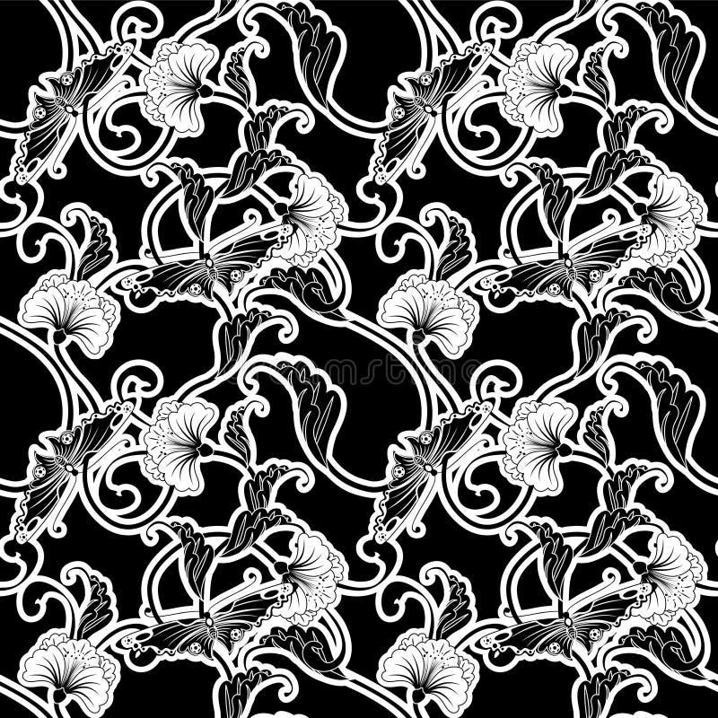 czarny ozdobny wielostrzałowy dachówkowy biel royalty ilustracja