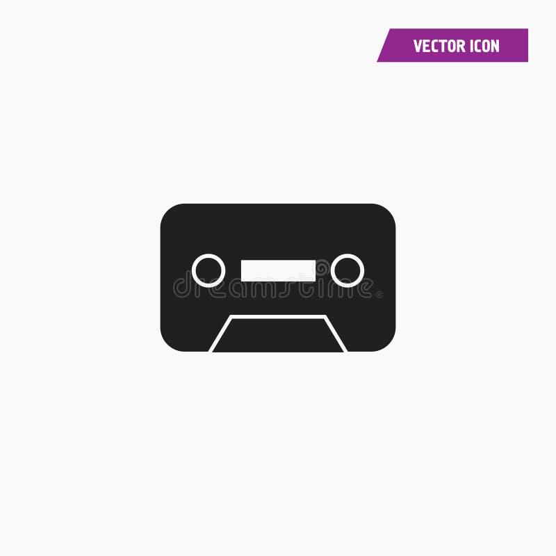 Czarny płaski rocznika cassete, taśmy ikona ilustracja wektor