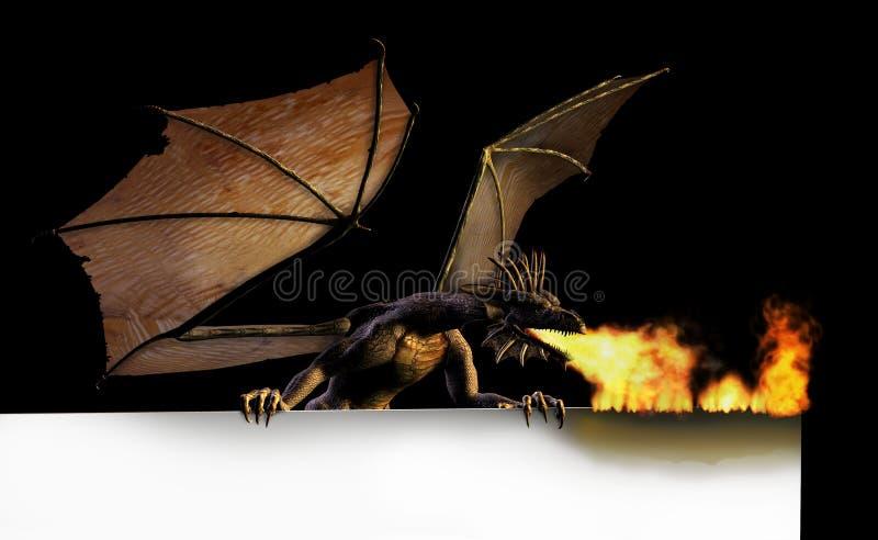 czarny płonący smoka znak royalty ilustracja