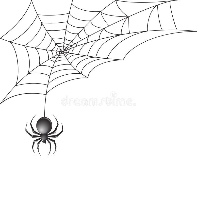 Czarny pająk z sieci tłem royalty ilustracja