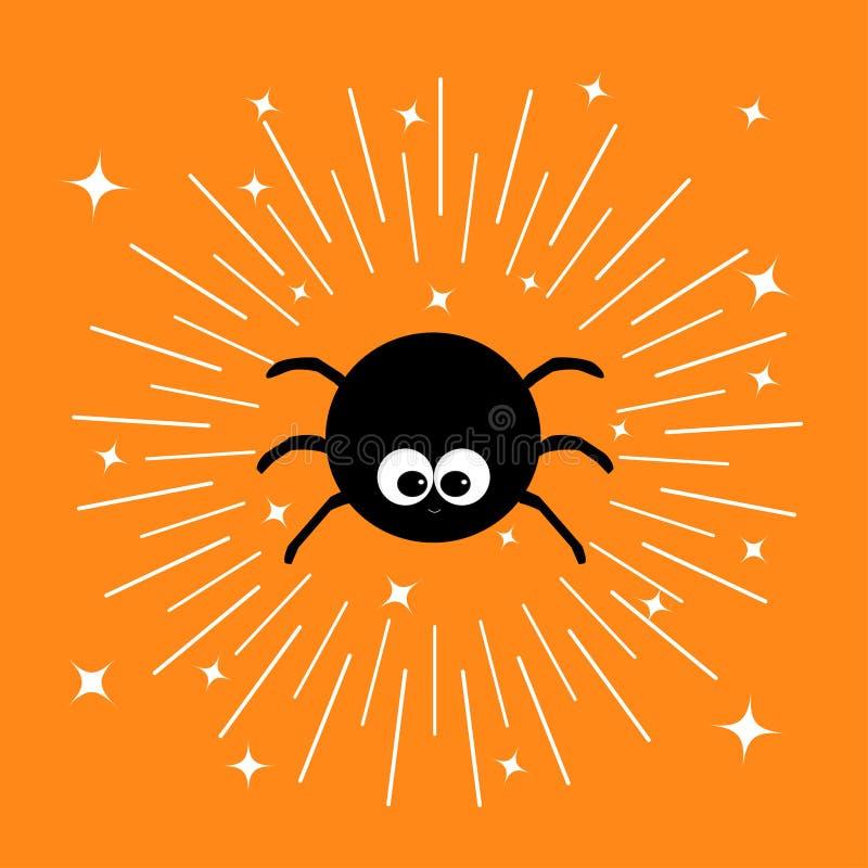 Czarny pająka insekt Sunburst round kreskowy okrąg Olśniewające skutek gwiazdy Śmiesznej kierowniczej twarzy Duzi oczy Śliczny kr ilustracji
