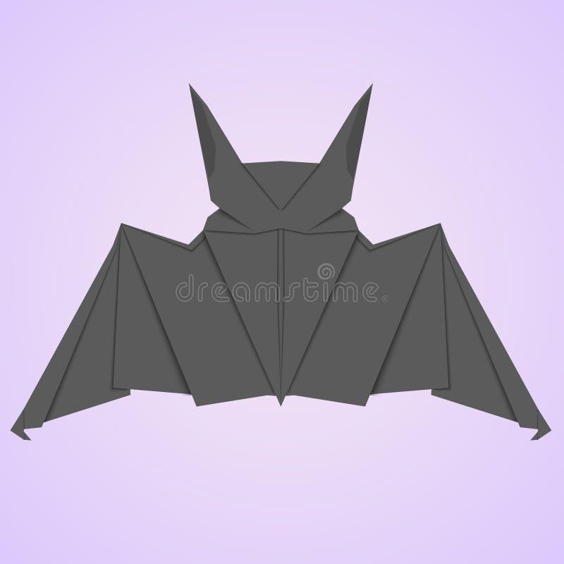 Czarny papierowy nietoperza 3D styl ilustracja wektor