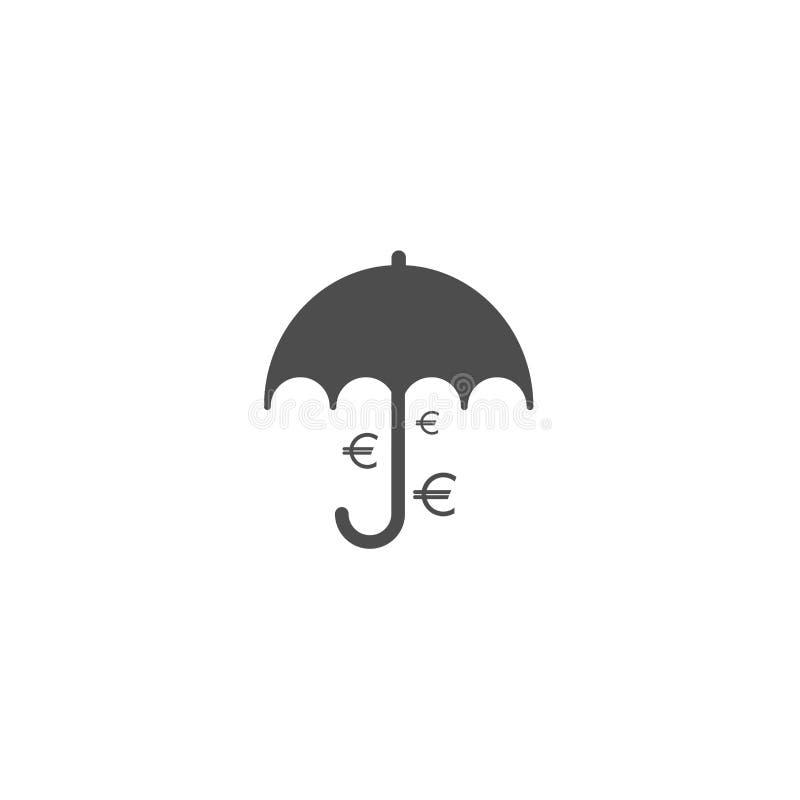 Czarny parasol z czarnym euro podpisuje pod nim Wektorowa płaska ikona odizolowywająca na bielu europejczyka spadać pieniądze pod ilustracja wektor