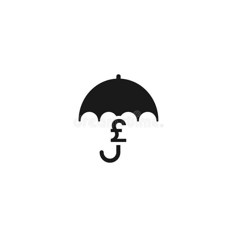 Czarny parasol z czarnym funtowym szterlingiem podpisuje pod nim Wektorowa płaska ikona odizolowywająca na bielu royalty ilustracja