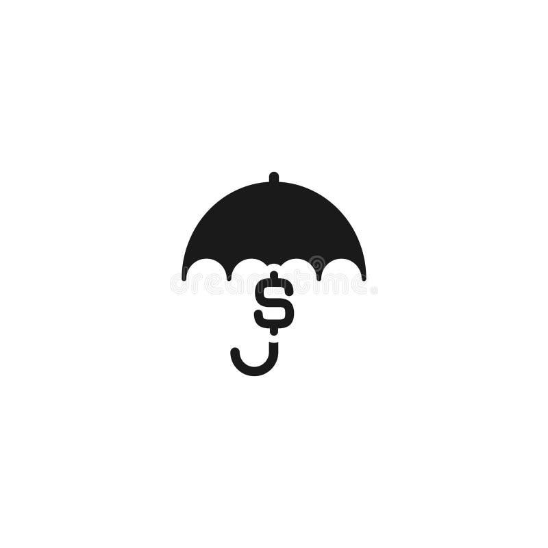 Czarny parasol z dolarowym znakiem pod nim ilustracji