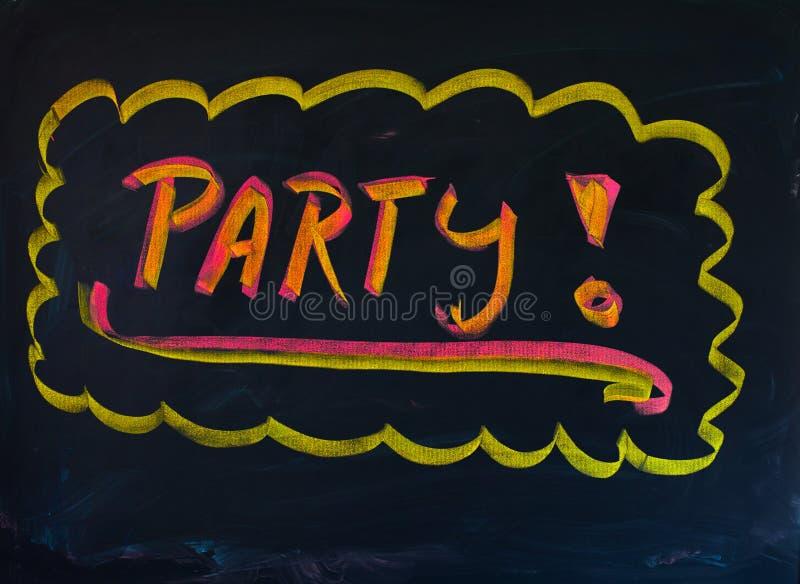 Czarny Partyjny chalkboard z ręka rysującą kolor żółty ramą łapać przyciąganie obraz stock