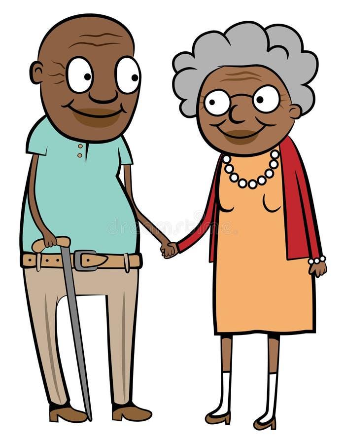 czarny pary szczęśliwy stary royalty ilustracja