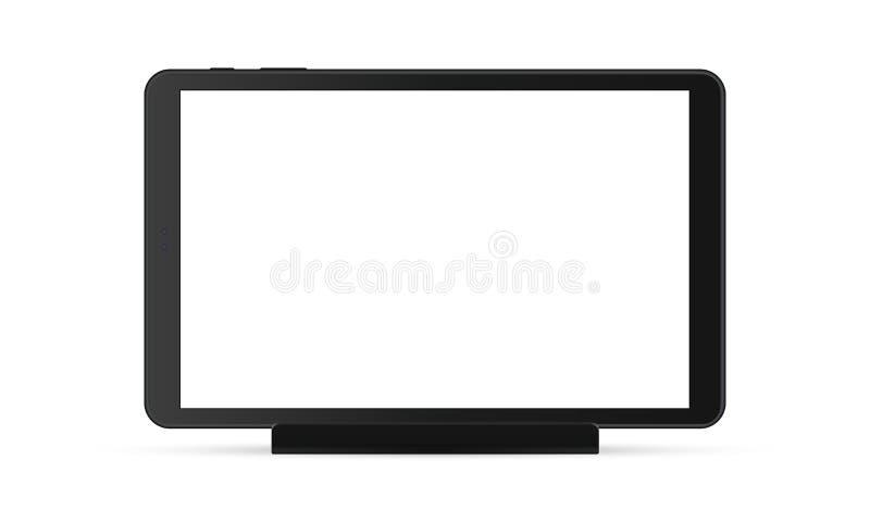 Czarny pastylka komputer z pustym ekranem na stojaku ilustracja wektor