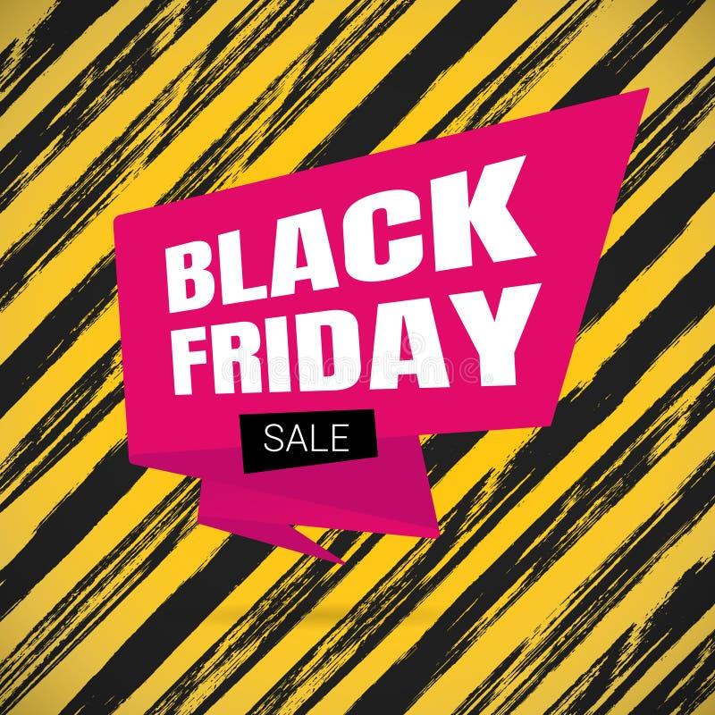 Czarny Piątek sprzedaży inspiracji plakat, duży różowy tasiemkowy sztandar ilustracji
