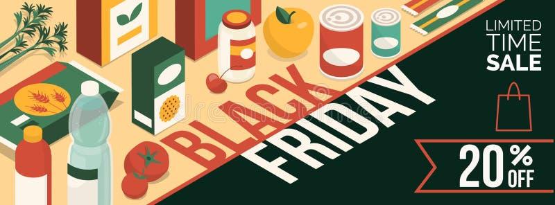 Czarny Piątek sprzedaży promocyjny sztandar royalty ilustracja