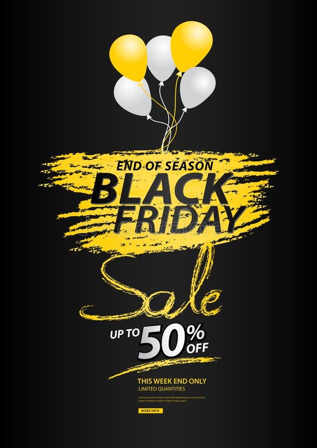 Czarny Piątek sprzedaży sztandar, rabat, promocyjny plakat, ulotka ilustracja wektor