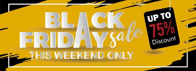 Czarny Piątek sprzedaży sztandar z papier sztuki rżniętym stylem na żółtym atramentu pluśnięciu dobrym dla twój promocji royalty ilustracja