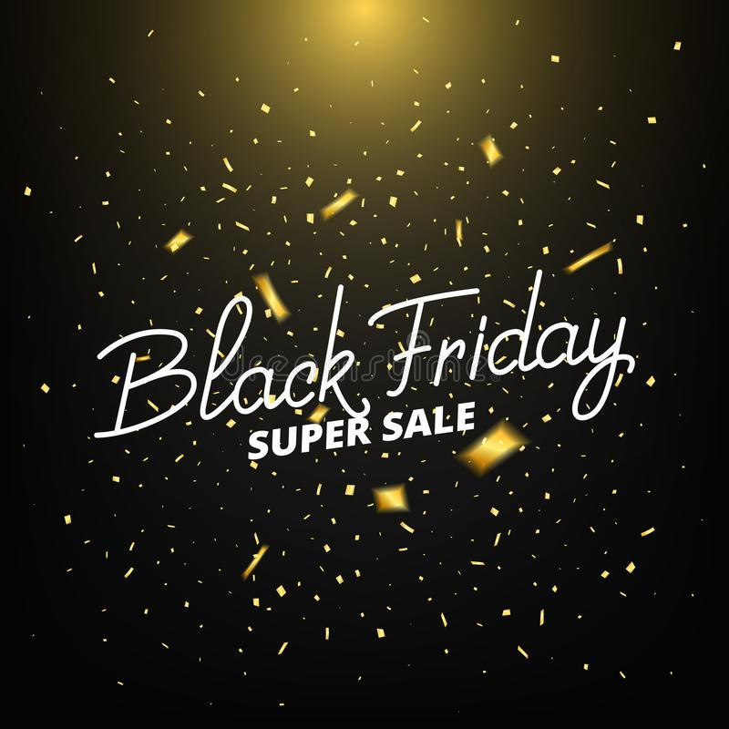 czarny Piątek Sztandar z realistycznymi złocistymi confetti Black Friday sprzedaży tło ilustracji