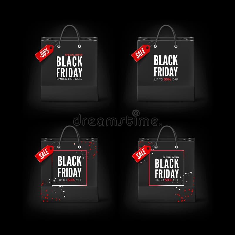 Czarny Piątku pojęcie Set Czarne papierowe torby z etykietka tekstem i sprzedażą Black Friday sztandaru szablon również zwrócić c ilustracja wektor