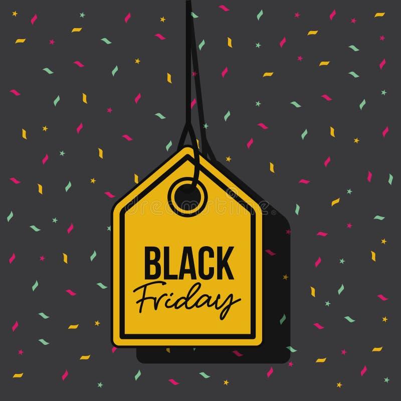 Czarny Piątku rabata oferty etykietki kolor żółty i breloczek nić w czarnym tle z confetti kolorowymi ilustracja wektor