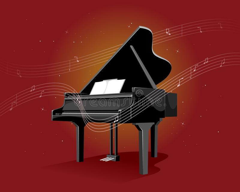 Czarny pianino na czerwonym tle ilustracji